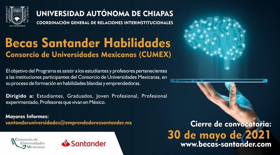 """""""Becas Santander Habilidades - Consorcio de Universidades Mexicanas (CUMEX)"""""""