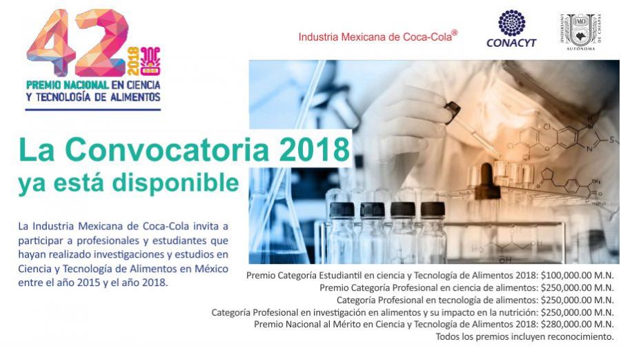 Convocatoria Premio Nacional en Ciencia y Tecnología de Alimentos 2018